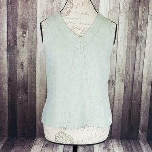Flax linen sleeveless v-neck tank top